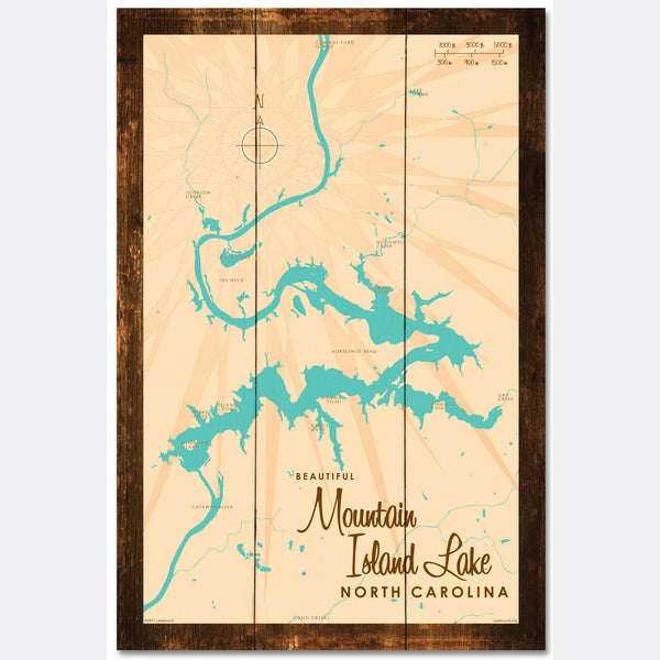 Mountain Island Lake North Carolina, Rustic Wood Sign Map Art