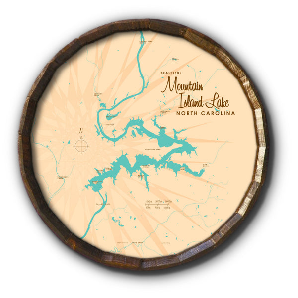 Mountain Island Lake North Carolina, Barrel End Map Art