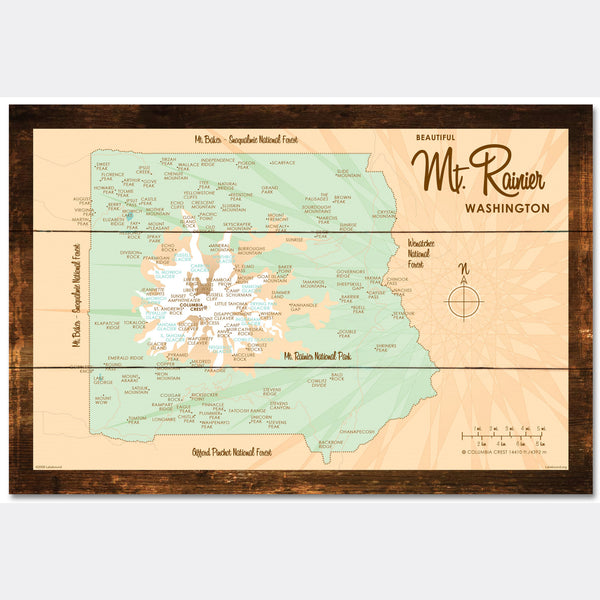 Mt. Rainier Washington, Rustic Wood Sign Map Art