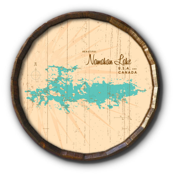 Namakan Lake Minnesota, Rustic Barrel End Map Art