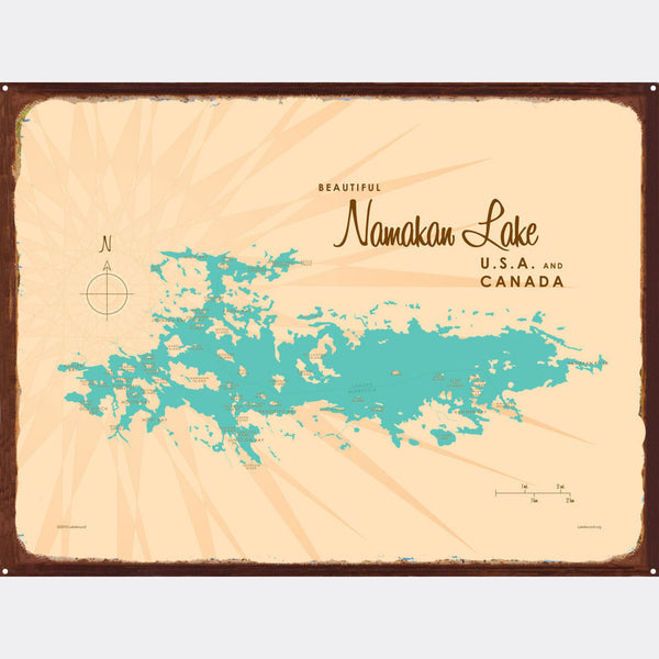 Namakan Lake Minnesota, Rustic Metal Sign Map Art