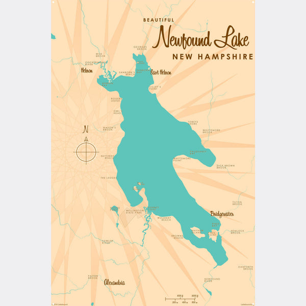 Newfound Lake New Hampshire, Metal Sign Map Art