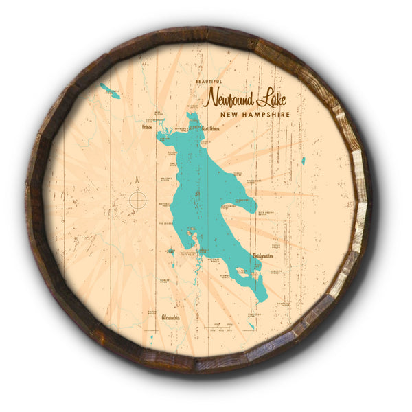 Newfound Lake New Hampshire, Rustic Barrel End Map Art