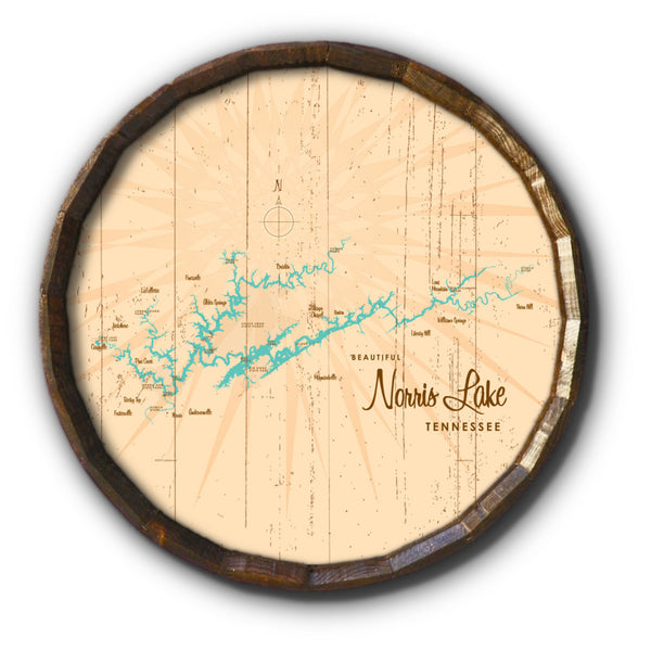 Norris Lake Tennessee, Rustic Barrel End Map Art