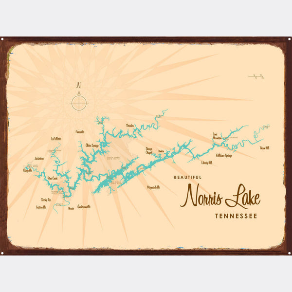 Norris Lake Tennessee, Rustic Metal Sign Map Art