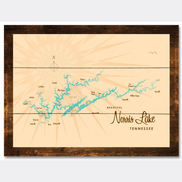 Norris Lake Tennessee, Rustic Wood Sign Map Art