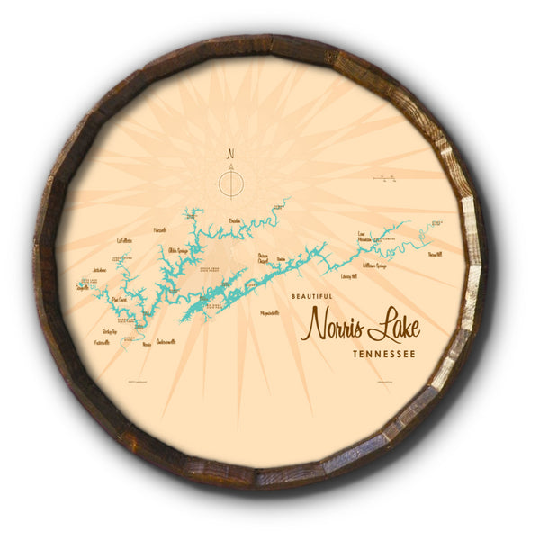 Norris Lake Tennessee, Barrel End Map Art