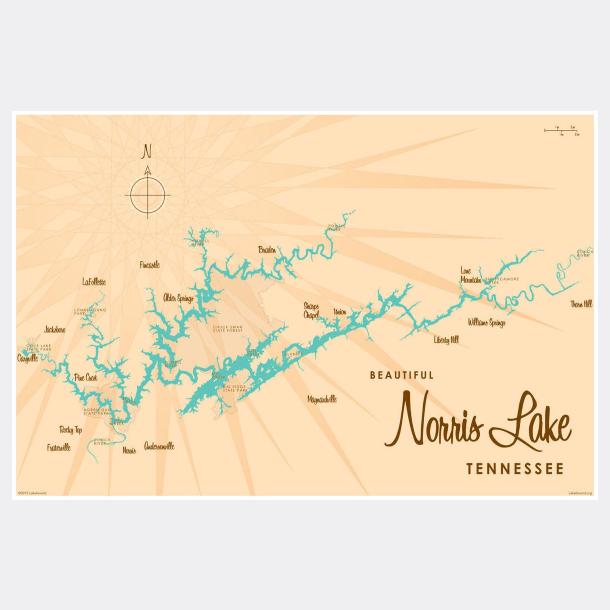 Norris Lake Tennessee, Paper Print