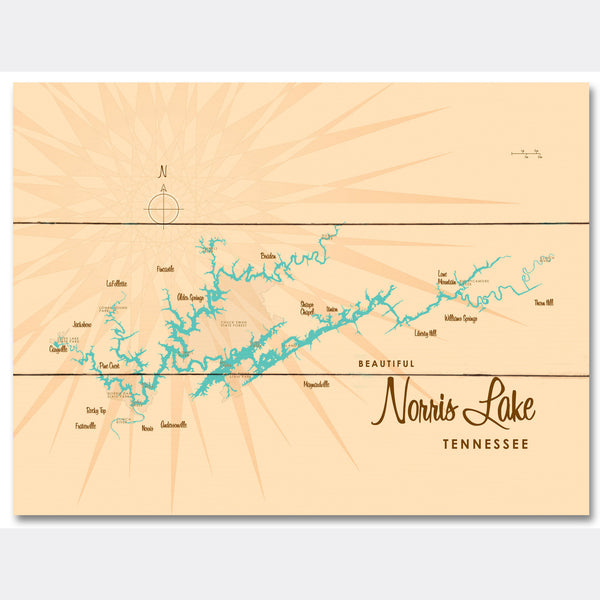 Norris Lake Tennessee, Wood Sign Map Art