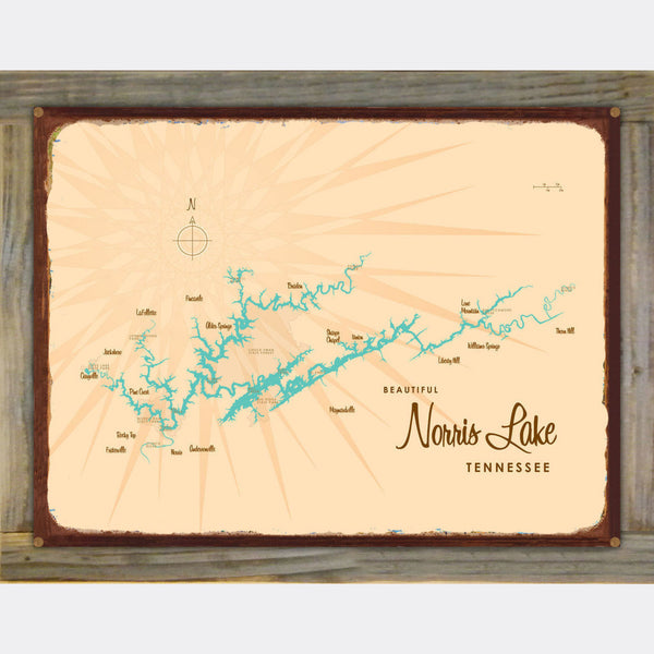 Norris Lake Tennessee, Wood-Mounted Rustic Metal Sign Map Art