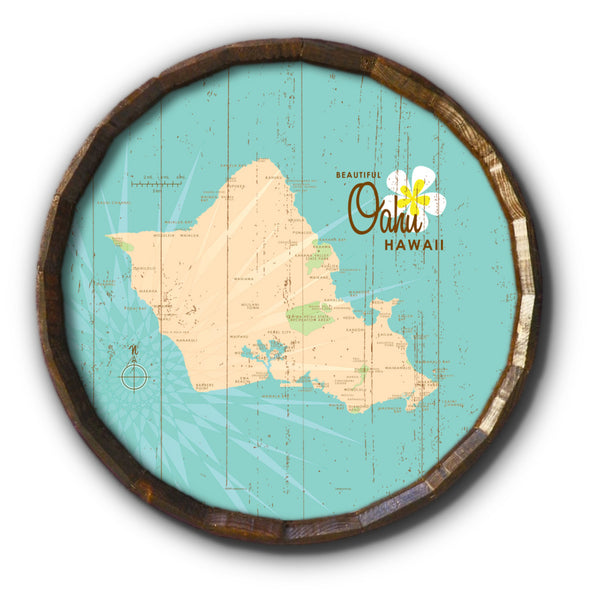Oahu, Rustic Barrel End Map Art