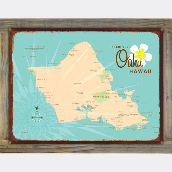 Oahu, Wood-Mounted Rustic Metal Sign Map Art