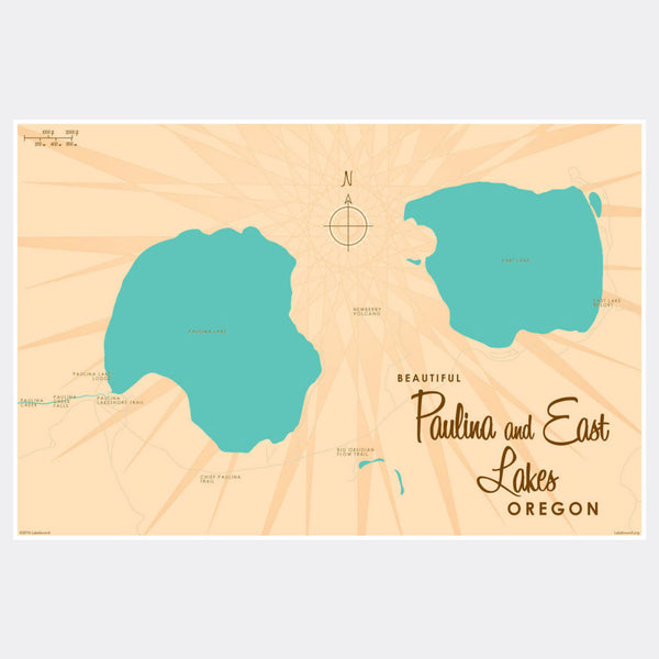Paulina & East Lakes Oregon, Paper Print