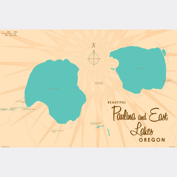 Paulina & East Lakes Oregon, Metal Sign Map Art
