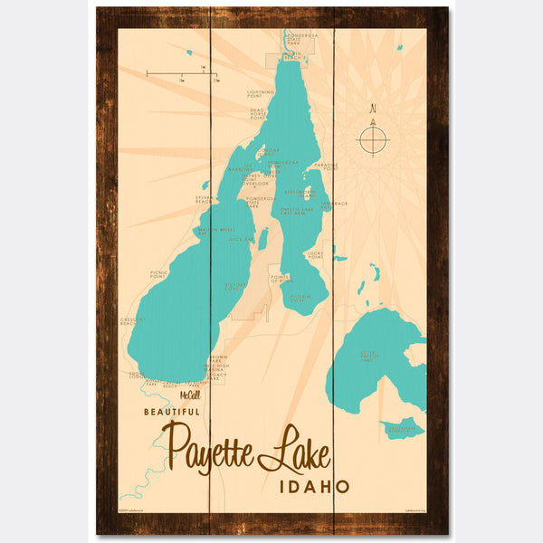 Payette Lake Idaho, Rustic Wood Sign Map Art