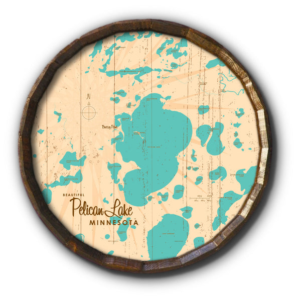 Pelican Lake Crow Wing County Minnesota, Rustic Barrel End Map Art