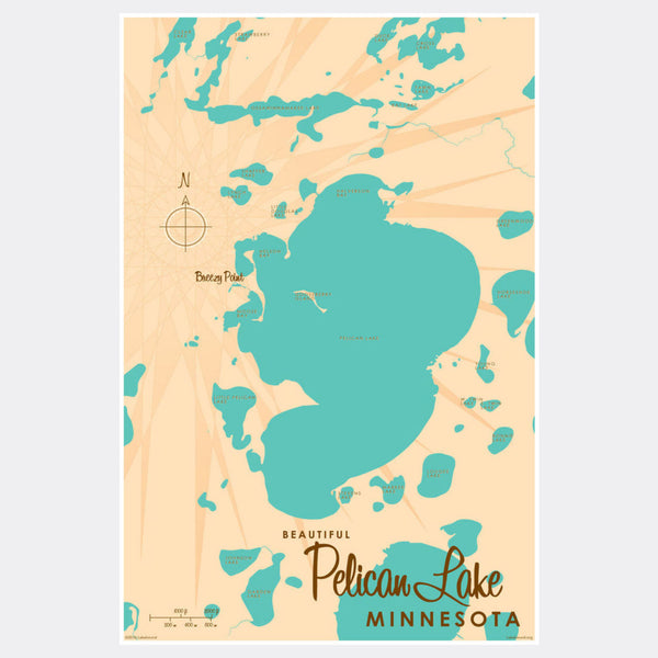 Pelican Lake Crow Wing County Minnesota, Paper Print