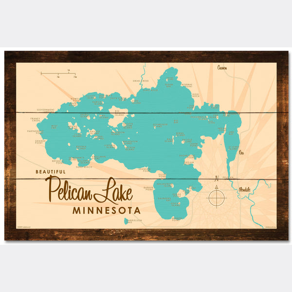 Pelican Lake St. Louis County Minnesota, Rustic Wood Sign Map Art