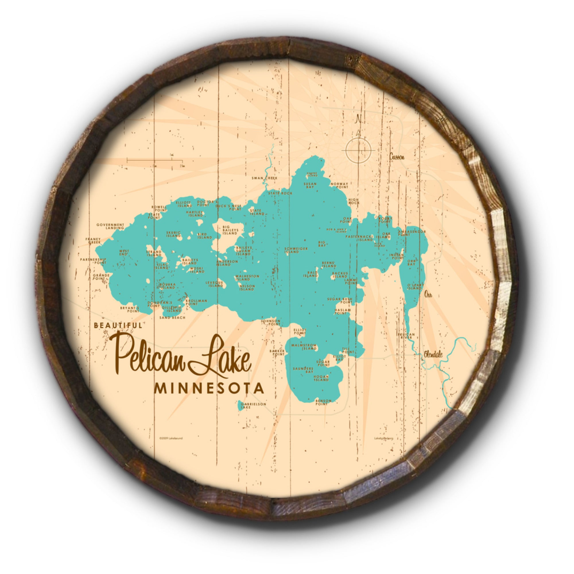 Pelican Lake St. Louis County Minnesota, Rustic Barrel End Map Art