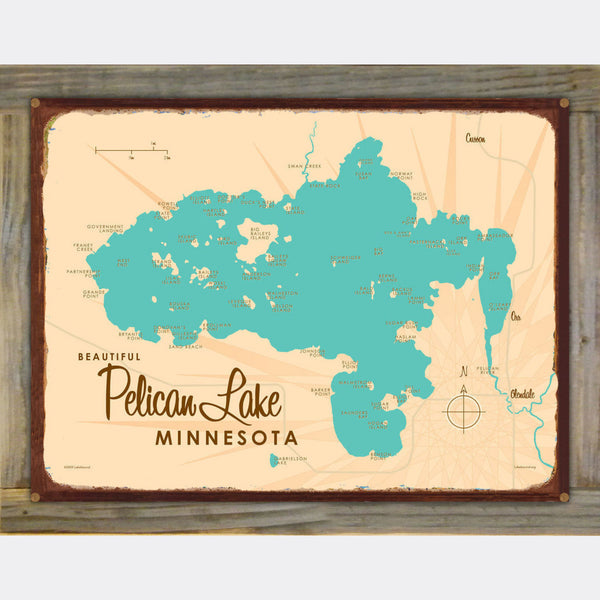 Pelican Lake St. Louis County Minnesota, Wood-Mounted Rustic Metal Sign Map Art