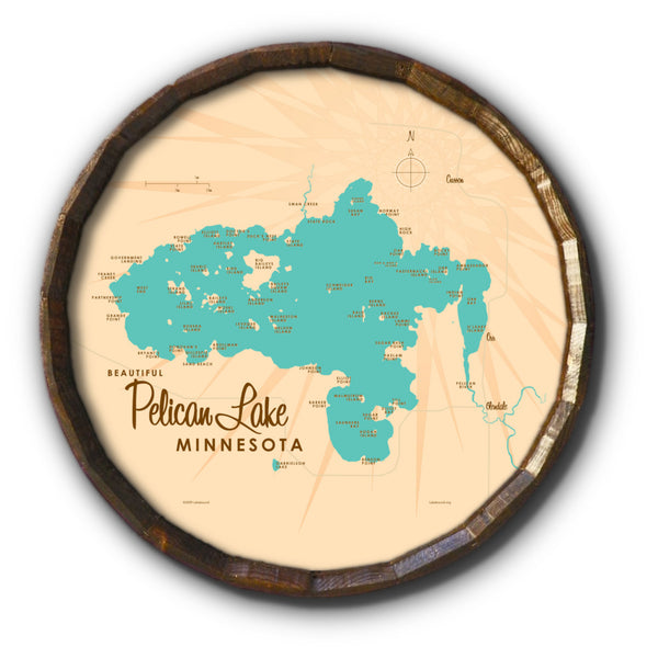 Pelican Lake St. Louis County Minnesota, Barrel End Map Art