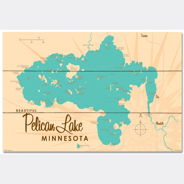 Pelican Lake St. Louis County Minnesota, Wood Sign Map Art