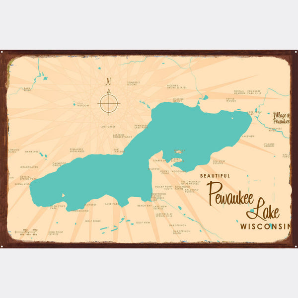 Pewaukee Lake Wisconsin, Rustic Metal Sign Map Art