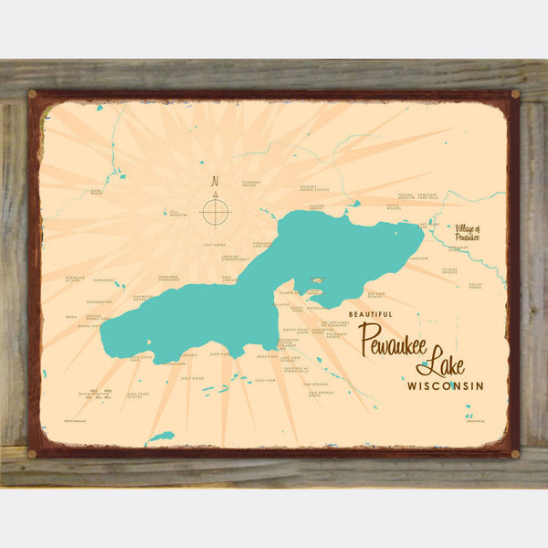 Pewaukee Lake Wisconsin, Wood-Mounted Rustic Metal Sign Map Art