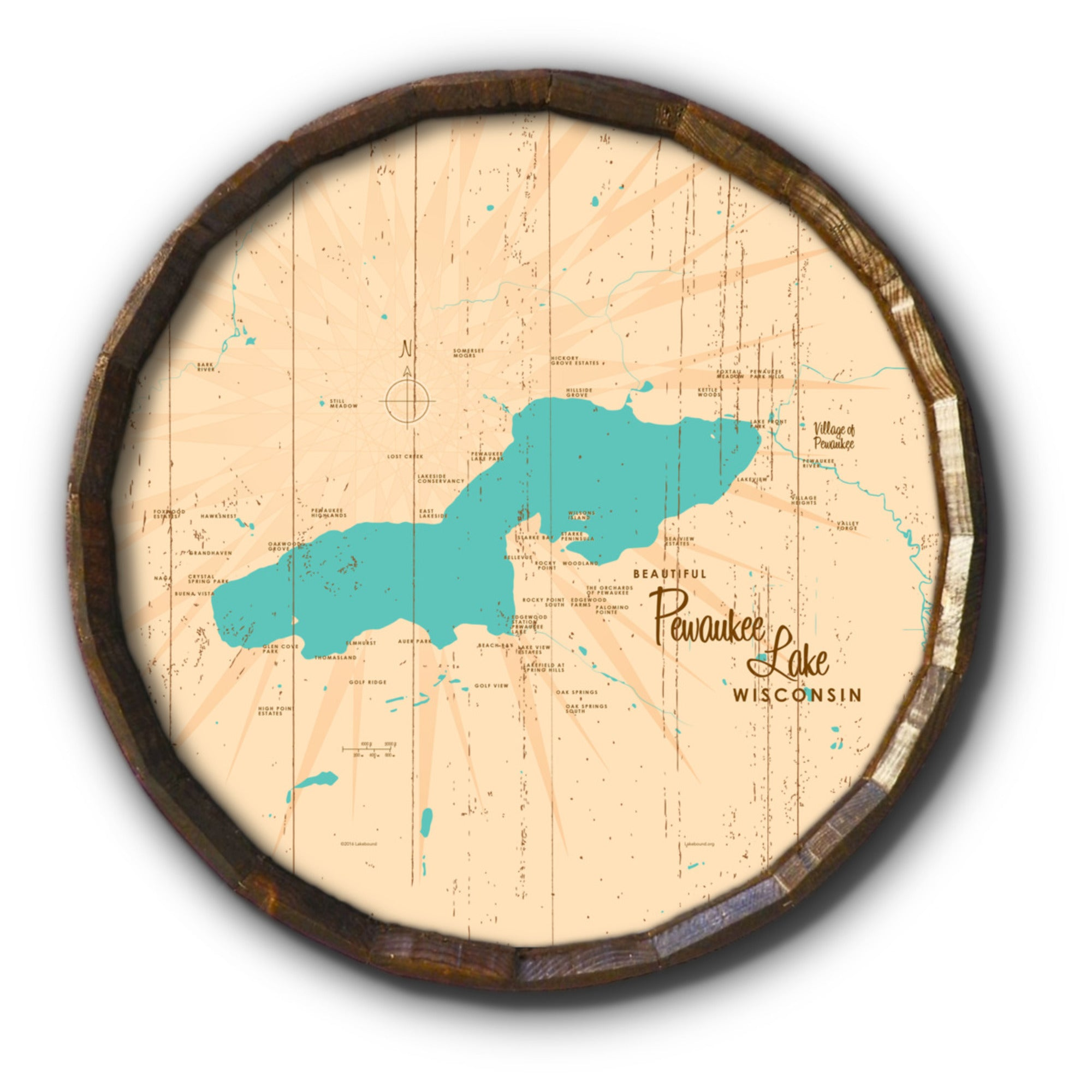 Pewaukee Lake Wisconsin, Rustic Barrel End Map Art
