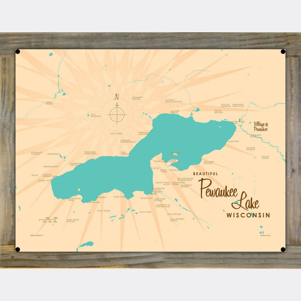 Pewaukee Lake Wisconsin, Wood-Mounted Metal Sign Map Art