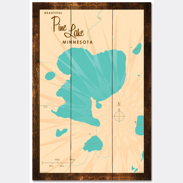 Pine Lake Minnesota, Rustic Wood Sign Map Art