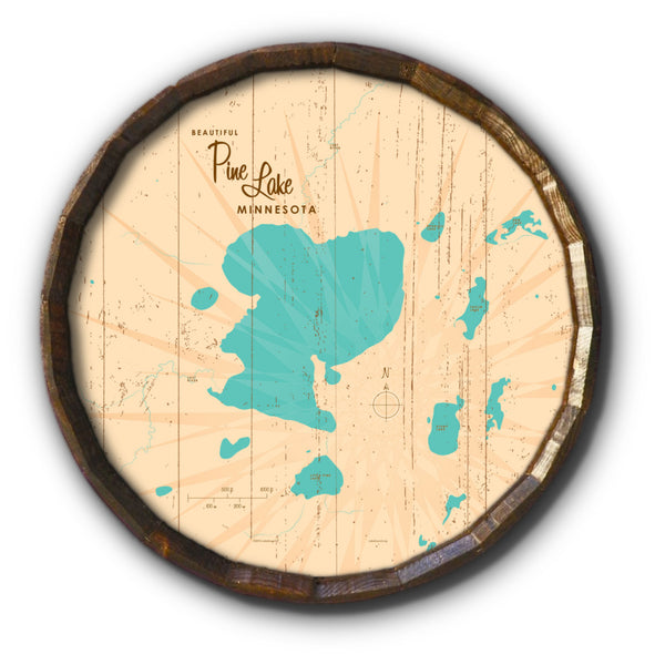 Pine Lake Minnesota, Rustic Barrel End Map Art