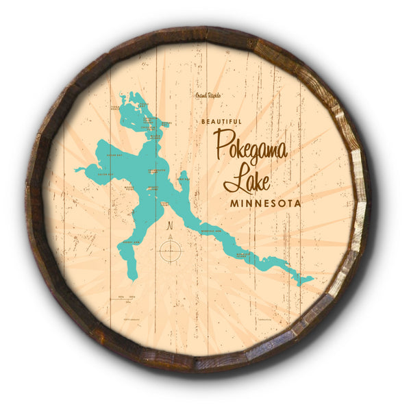 Pokegama Lake Minnesota, Rustic Barrel End Map Art