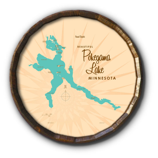Pokegama Lake Minnesota, Barrel End Map Art