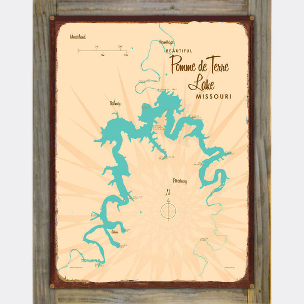 Pomme de Terre Lake Missouri, Wood-Mounted Rustic Metal Sign Map Art