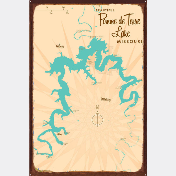 Pomme de Terre Lake Missouri, Rustic Metal Sign Map Art