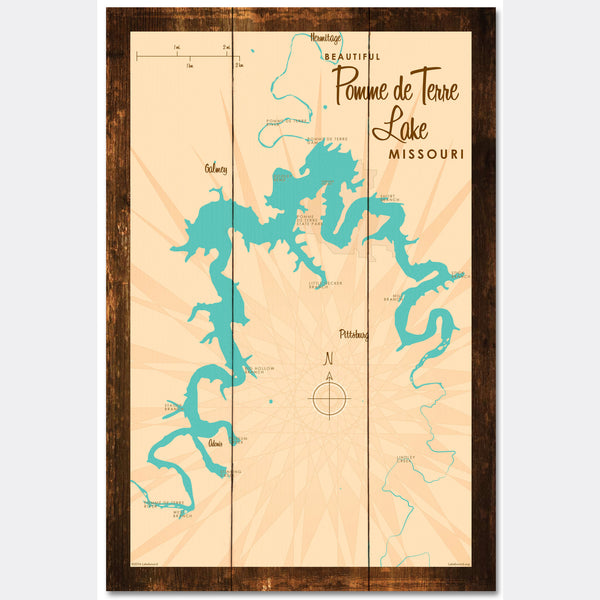 Pomme de Terre Lake Missouri, Rustic Wood Sign Map Art