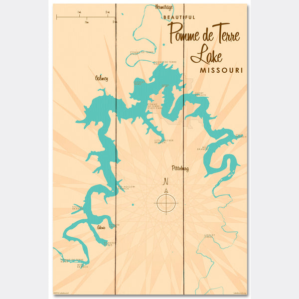 Pomme de Terre Lake Missouri, Wood Sign Map Art