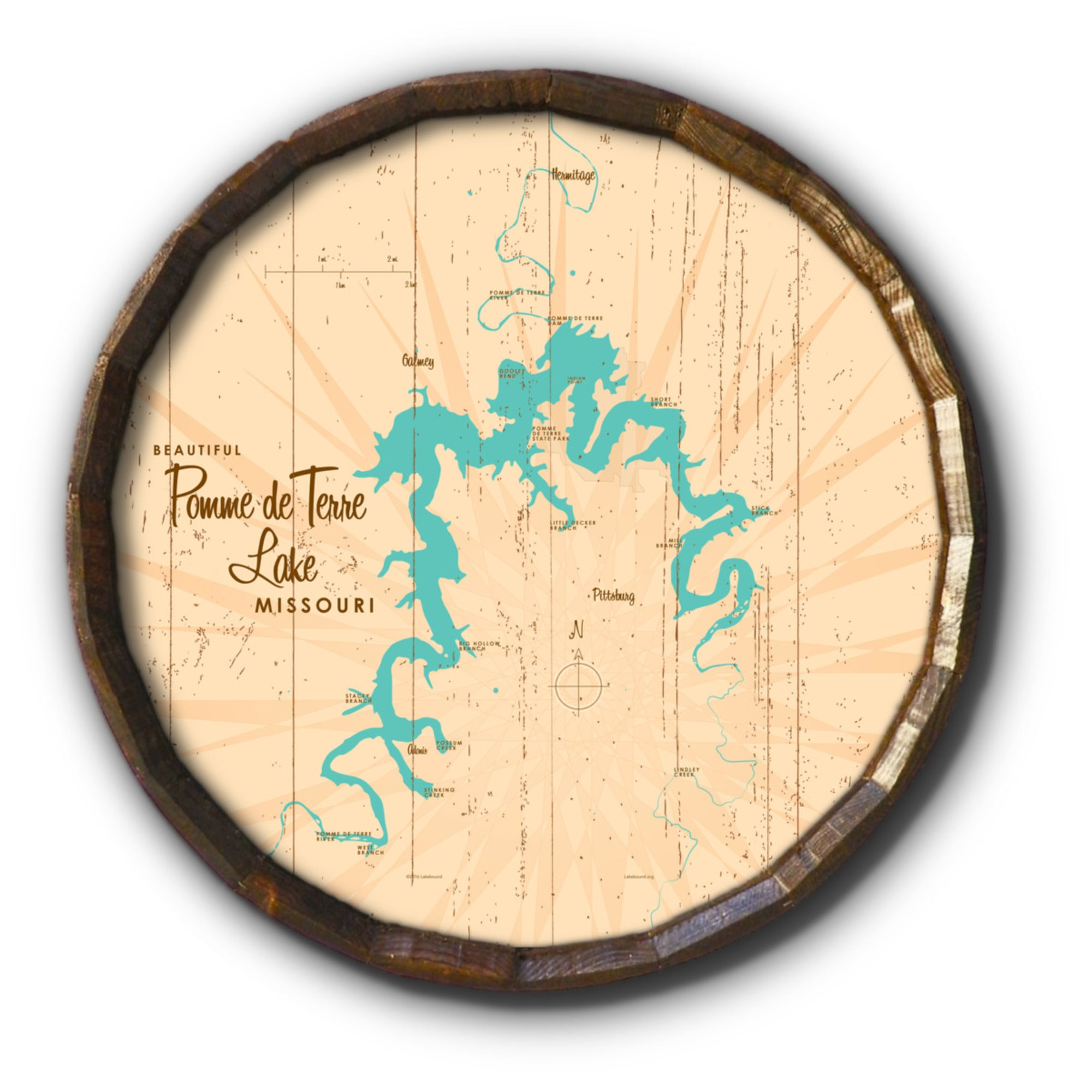 Pomme de Terre Lake Missouri, Rustic Barrel End Map Art