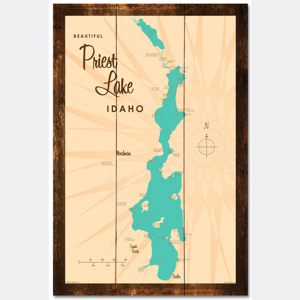 Priest Lake Idaho, Rustic Wood Sign Map Art