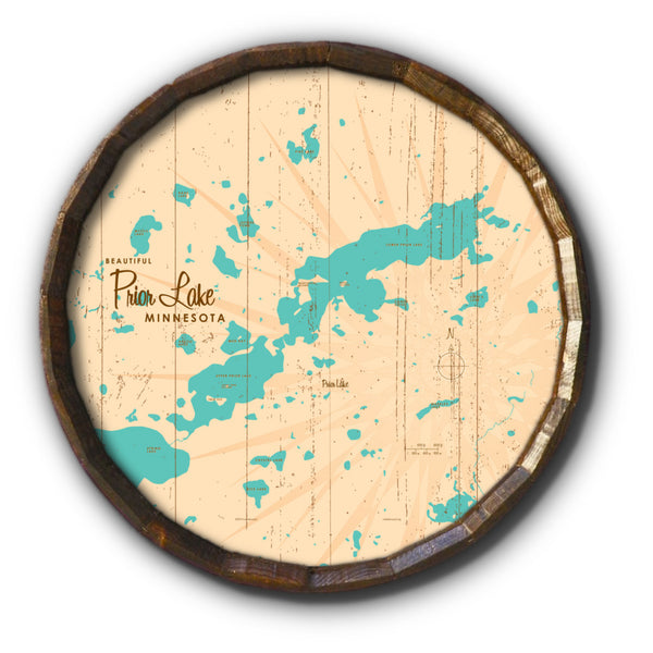 Prior Lake Minnesota, Rustic Barrel End Map Art