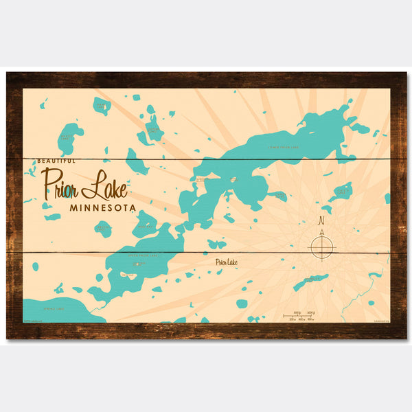 Prior Lake Minnesota, Rustic Wood Sign Map Art