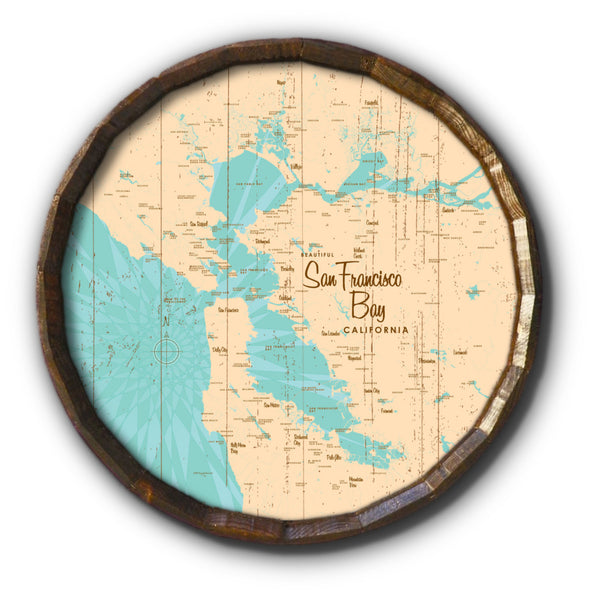 San Francisco Bay California, Rustic Barrel End Map Art