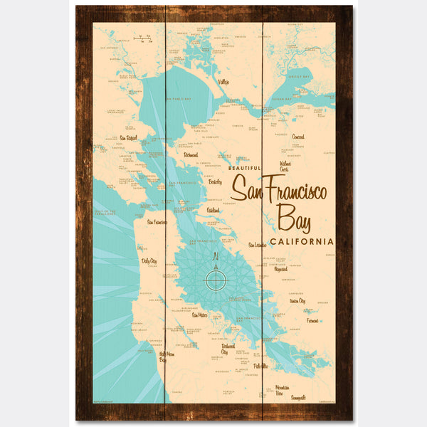 San Francisco Bay California, Rustic Wood Sign Map Art