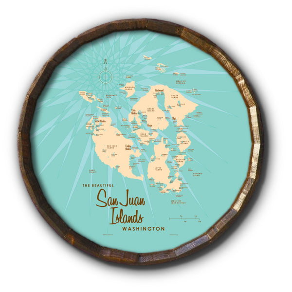 San Juan Islands Washington, Barrel End Map Art