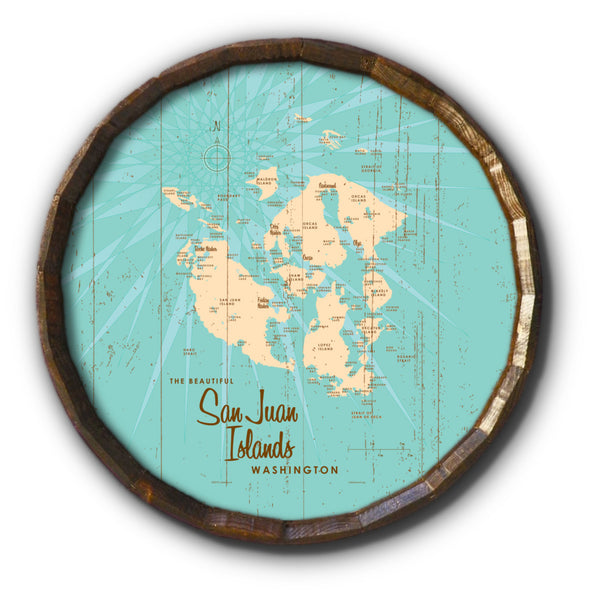 San Juan Islands Washington, Rustic Barrel End Map Art