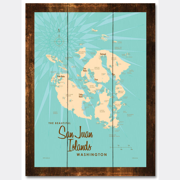 San Juan Islands Washington, Rustic Wood Sign Map Art
