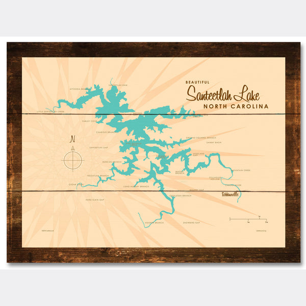 Santeetlah Lake North Carolina, Rustic Wood Sign Map Art