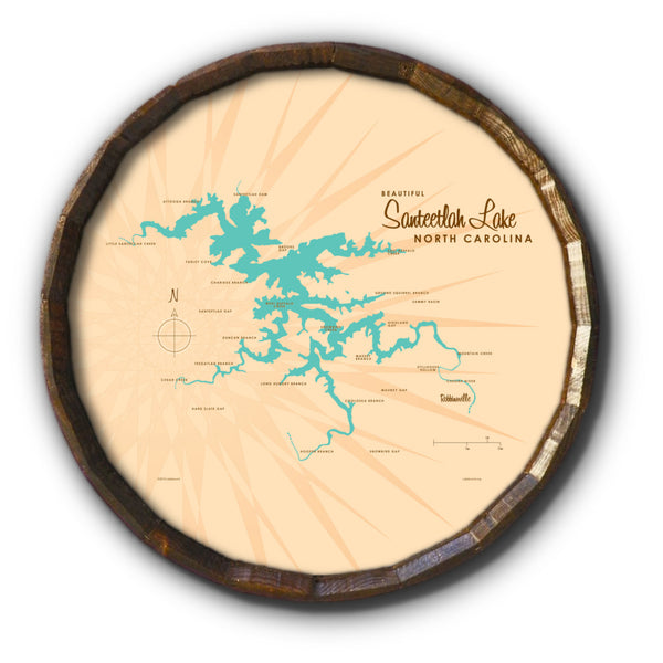 Santeetlah Lake North Carolina, Barrel End Map Art