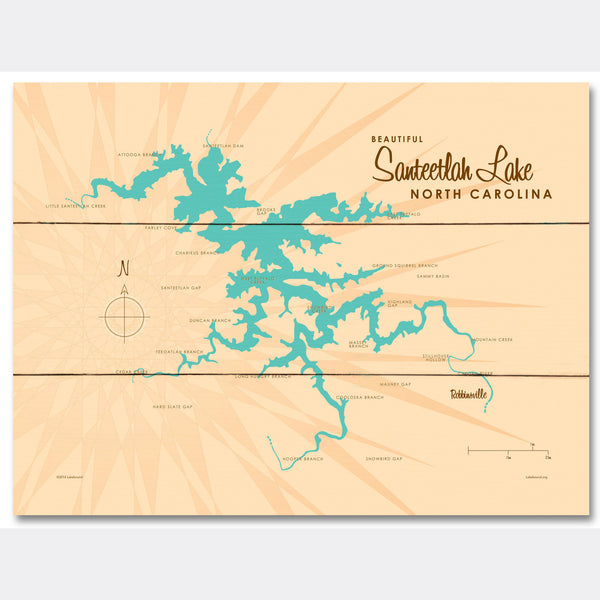 Santeetlah Lake North Carolina, Wood Sign Map Art